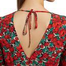 Riley LOUCHE Zinnia Retro Floral Midi Dress In Red