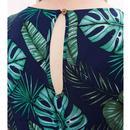 Sidra LOUCHE Retro Palm Leaf Wrap Front Jumpsuit