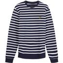 lyle and scott breton stripe sweatshirt navy/white