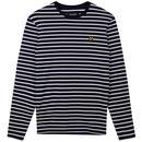 Lyle & Scott Men's Retro 60s Mod Long Sleeve Breton Stripe T-shirt in Navy