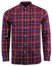 lyle and scott retro mod check button down shirt