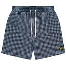 Lyle & Scott Men's Retro Gingham Check Swim Shorts in Dark Navy