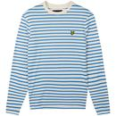 Lyle & Scott Men's Retro Mod Long Sleeve Breton Stripe T-Shirt in Cornflower