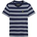 Lyle & Scott Men's Retro Multi Stripe Crew Neck T-shirt in Navy