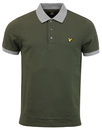 lyle & scott polo top contrast rib sage mod