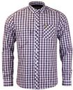 LYLE & SCOTT RETRO 60s MOD TARTAN CHECK SHIRT PLUM