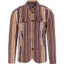 madcap england mens cord multicoloured stripes standing collar button jacket