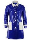 madcap england robin 60s mod pvc raincoat blue