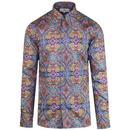 Madcap England Capo 1960s Mod Psychedelic Paisley Spear Collar Shirt in Blue