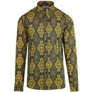 Madcap England 1960s Mod Baroque Paisley Spear Collar Shirt in Navy