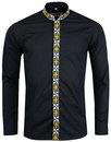 madcap england avory mandarin collar shirt black