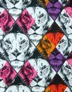 King MADCAP ENGLAND Retro Mod Geo Lion Print Shirt