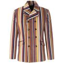 Madcap England Rare Breed Stripe 1960s Mod Double Breasted Blazer Jacket in Stone