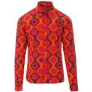 Madcap England Trip Op Art Circles Retro 1970s Shirt in Orange