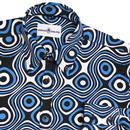 Trip Op Art MADCAP ENGLAND 1960s Mod Shirt (Blue)