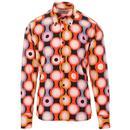 Madcap England Trip Psych-Out! 60s Mod Op Art Circle Print Shirt in Black