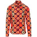Madcap England Trip Psych-Out! Retro 60s Psychedelic Mod Target Print Shirt in Burgundy