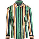 Madcap England Trip Retro 60s Mod Stripe Button Down Shirt in Green