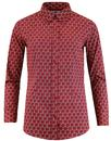 madcap england saffron floral hexagon shirt red
