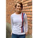Madcap England 60s Mod Women's Racing Jumper WHITE