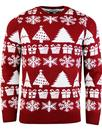 madcap retro snowflake tree Christmas jumper red