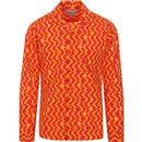 madcap england mens resort collar bold wave pattern long sleeve shirt pink orange yellow