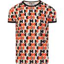 madcap england mens geo pattern printed ringer neck tshirt white orange black