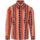 madcap england mens spear collar squiggle stripe print long sleeve shirt pink orange black