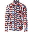 Trip Psych-Out Circle MADCAP ENGLAND Mod Shirt R/B