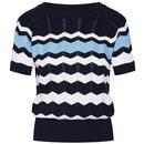 Mademoiselle YeYe Zick Zack 1960s Mod Pointelle Knit Zig-Zag Stripe Top in Navy