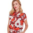 Mademoiselle YeYe And Now? Retro 1960s Floral Shirt Top in Red and Orange