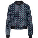Mademoiselle Yeye Retro Best Friend Bomber Jacket in Black/Blue Modernism Print