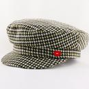 Mademoiselle Yeye Think A Hat Retro 1960s Mod Dogtooth Plaid Check Cap in Green