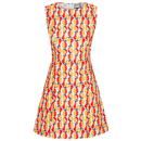 Mademoiselle YeYe Seven Days Too Long 60s Mod Tropical Fruit Dress
