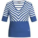 Mademoiselle Yeye Retro 60s Knitted Stripes Lover Top Blue