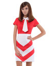 MARMALADE 60s Mod Chevron Neck Tie Fitted Dress