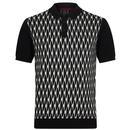 merc london geometric jacquard knitted polo black