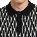 Austin MERC Mens Knitted Geometric Jacquard Polo B