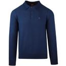 Collier MERC 1960s Mod Waffle Knit Polo Top (Navy)