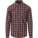 merc mens cornhill check long sleeve shirt sienna