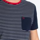 Eaton MERC Retro 70s Fine Stripe T-Shirt in Navy