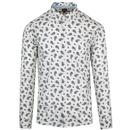 Merc Endell 1960s Mod Button Down Paisley Shirt in Off White