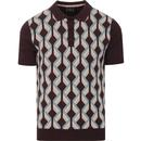 merc men jordan geometric ribbon pattern knitted polo tshirt grape