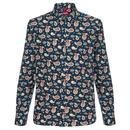 Merc Retro Mod 60s Paisley Shirt Keane in Navy
