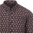 Shire MERC 60s Mod Paisley Button Down Shirt NAVY