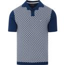 merc mens checkerboard front knitted polo tshirt royal blue white