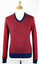 MERC RETRO MOD SIXTIES PAISLEY JUMPER RED
