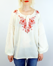 Embroidered Blouse NOMADS 60s Vintage Floral Top