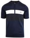 fred perry knitted panelled zip crew neck carbon