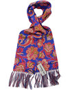 peckham rye piccadilly blue paisley mod silk scarf